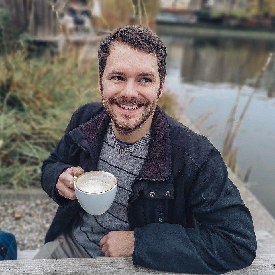 man, coffee, human
